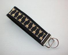 metallic gold black arrows Key fob wristlet  metallic by Laa766  preppy / fabric / cute / patterns / key chain / office, nurse, student id, badge / key leash / gifts / key ring
