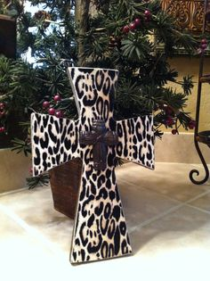 Small Faux Animal Print Wood Cross
