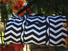 Large Black and White Chevron Duffel Bag by GebbiesEmbroidery, $23.95