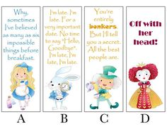 Alice in Wonderland Bookmarks