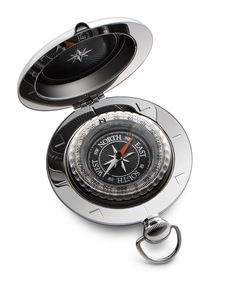 The Voyager Compass is perhaps the best-known of all Dalvey compasses.  It's unique pull-pommel catch, tactile shape, and iconic design make it a classic of the range.  This compass features an exceptionally fine-detailed dial combining intricately textured black with mirror-polished detailing in the compass rose and increments.  The striking orange needle is echoed in subtle details at the cardinal points. #dalvey, #compass, #gift