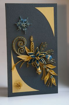 This card is completely handmade by Quilling technique. It is unique, designed and made by me in a single copy and bond paper. Masking tapes are han
