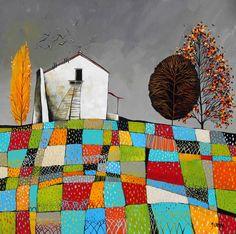 Artwork of Glendine exhibited at Robertson Art Gallery. Original art of more than 60 top South African Artists - Since Flower Artwork, Bird Artwork, South African Artists, Collage Art Mixed Media, Acrylic Artwork, Landscape Artwork, Naive Art, Cityscapes, Folk Art