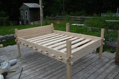 upgrading my rope bad to slat bed? here is a beautifully made Osberg style bed. love the pegs to hold it together.