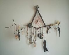 Natural Maple/Oak/Ash Wood triangle dreamcatcher: Wall hanging Fairy, Boho Dream Catcher - real gemstones, feathers, ribbons - custom made - Care - Skin care , beauty ideas and skin care tips Los Dreamcatchers, Craft Projects, Projects To Try, Diy And Crafts, Arts And Crafts, Summer Crafts, Decor Crafts, Deco Nature, Dream Catcher Boho