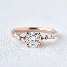 Flower White Gold Bridal Set 2pcs Vine Marquise Leafy Engagement Ring Unique Wedding Stacking Asymmetric Vintage Ring Chevron Matching Band