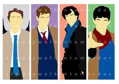 Supernatural - BBC Doctor Who - BBC Sherlock and BBC Merlin 6x4 group art print