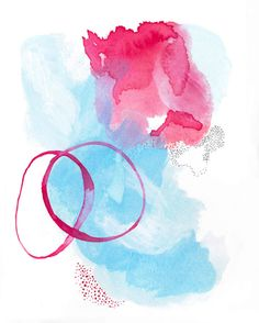 Modern Abstract Watercolor. Colorful Modern by AdriLunaStudio