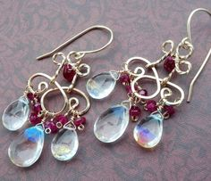 FREE SHIPPING Fire Rainbow opal quartz red Ruby 14 kt gold filled wire wrapped chandelier earrings. $115.00, via Etsy.