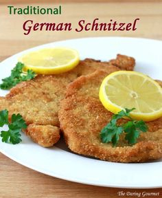 schnitzel pork recipe traditional authentic - Must be served with a wedge of lemon. Traditionally this is made with veal.German schnitzel pork recipe traditional authentic - Must be served with a wedge of lemon. Traditionally this is made with veal. Wiener Schnitzel, Pork Schnitzel, Pork Recipes, Cooking Recipes, Pork Shnitzel Recipe, Chicken Recipes, Pork Cutlet Recipes, Cooking Pork, Gourmet Dinner Recipes