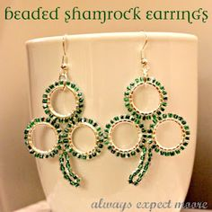 Beaded Shamrock Earrings just in time for St. Patty's Day!