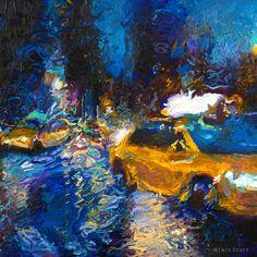 Sweetglass Taxi, Iris Scott. 36 x 36 Original oil fingerprinting available.