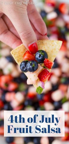 4th of July Fruit Salsa, red, white and blue party food! 4th Of July Desserts, Fourth Of July Food, 4th Of July Celebration, 4th Of July Party, Fourth Of July Recipes, 4th Of July Ideas, July 4th Appetizers, 4th Of July Cake, Patriotic Party