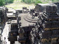 Kailasa temple, Ellora - Kailasanatha Temple, (Cave 16) view from the top of the rock