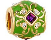 Pugster Purple Crystal On Green European Beads Gold Fits Charm Bracelet