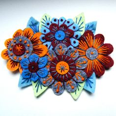 VINTAGE BOUQUET felt brooch pin with freeform embroidery - scandinavian style