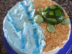 Sea Turtle Cake! Cute! I Want It! Obsessed! Turtle Cakes, Turtle Birthday Cakes, Sea Turtle Cupcakes, 6th Birthday Parties, Kid Parties, Birthday Ideas, 9th Birthday, Occasion Cakes, Ocean Cakes
