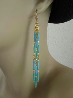 Seed Bead Dangle Earrings Turquoise/Aqua by pattimacs on Etsy Seed Bead Dangle Earrings Turquoise/Aqua by pattimacs on Etsy – mammothtrading Seed Bead Jewelry, Beaded Jewelry, Handmade Jewelry, Diy Seed Bead Earrings, Seed Beads, Personalised Jewellery, Bead Jewellery, Jewelry Findings, Gold Jewelry