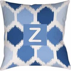 Thumbprintz Batik Monogram Decorative Pillow, Blue