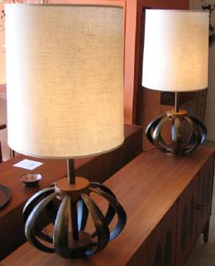 Mid century modern bronze and walnut lamps