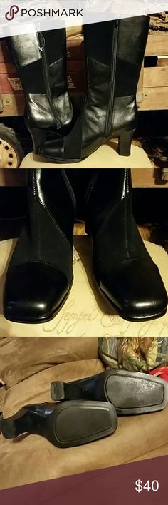 😍Super Cute Boots😍 😍Brand new 😍Beautiful Black Boots by George 😍2 tone leather & suede look block design😍 Size 8😍 George Shoes