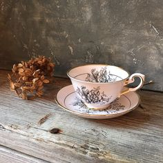 Blush Pink Tea Cup and Saucer With Black Floral by Untried on Etsy