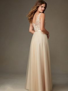bf4ead7f33 Bridesmaid dresses by Mori Lee style 134 Long lace tulle dress