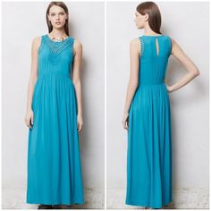 "Anthropologie Macrame Day Maxi Dress Mermaid  XS-M Anthropologie Macrame Day Maxi Dress Mermaid XS --- will fit a small also --- if you are size medium, check the bust measurement --- 17"" bust (measured with garment flat) --- 60"" length --- Rayon --- like new --- no signs of wear --- freshly dry-cleaned Anthropologie Dresses Maxi"