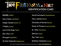 Fandom quiz, tells you what you'd be in the fandoms