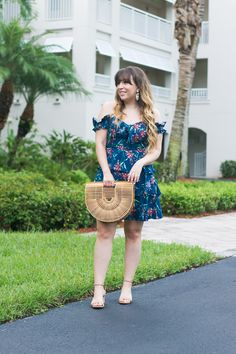 0bfded3d11 Miami fashion blogger Stephanie Pernas of A Sparkle Factor wearing a Wayf  floral off the shoulder