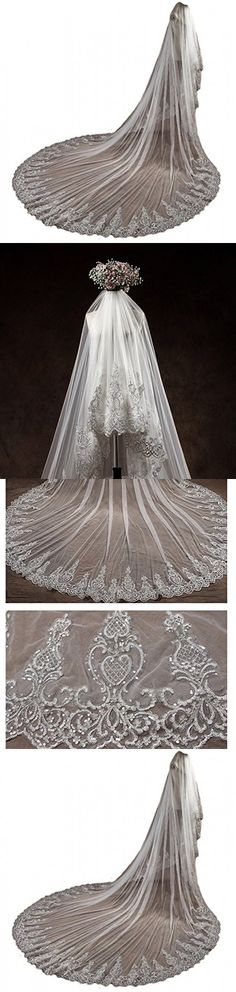 AliceHouse 2 Tier Sequins Retro Lace Luxury Ivory Cathedral Wedding Bridal Veils MV014