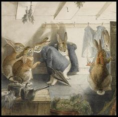 Rabbits' Christmas Party | Beatrix Potter Watercolors Auctioned in London . . . | Content in a Cottage
