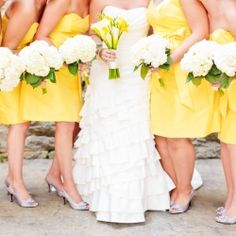 A gorgeous yellow and gray wedding with the most adorable bridesmaids dresses at The Mill at Fine Creek in Virginia! #weddinggawker