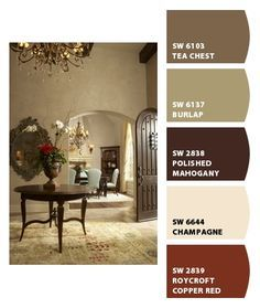 Warm color palette, Chip It! by Sherwin-Williams – home Inspiration  - Burlap or Tea Chest on walls???