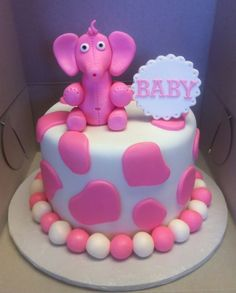Cutesy baby shower cake with pink baby elephant