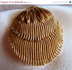 ON SALE Crown Trifari Gold Tone Brooch by JanesVintageJewels, $17.60