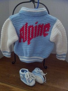 crochet letterman jacket with lettering and high top booties