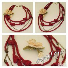Kış kolyesi.. İğne oyası gül ayrıca broş.. Winter necklase.. Needlework rose is also can be used as a brooch..
