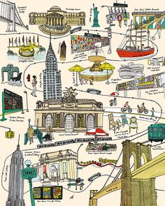 Illustration by Julia Rothman, via Grain Edit Gravure Illustration, Voyage New York, Empire State Of Mind, I Love Nyc, Concrete Jungle, Vintage Travel Posters, Poster Vintage, Map Art, Cities