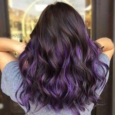 Purple, violet hair colors, hair color purple, cool hair color, h Hair Color Purple, Cool Hair Color, Purple Ombre, Purple Hair Tips, Hidden Hair Color, Purple Hair Streaks, Violet Hair Colors, Pastel Purple, Color Black
