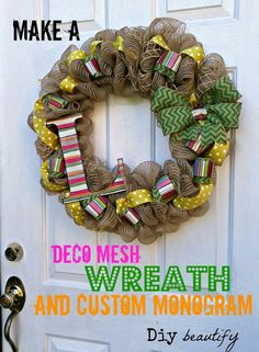 Deco Mesh and Chevron Burlap Wreath | Diy beautify http://www.diybeautify.com/2013/09/an-unconventional-wreath-for-fall-using.html#axzz2rpOB5gty