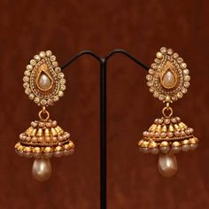 Anvi's polki pearl jhumkas with pearl droplet - Online Shopping for Earrings by Anvi Collections