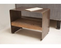Reclaimed Wood and Steel Hudson Side Table, Low Profile, Modern Form