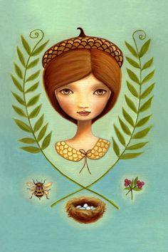 Autumn woodland art - Acorn Queen 13x19 LARGE print on somerset velvet - acorn, honey bee, and nest by Marisol Spoon. $68.00, via Etsy.