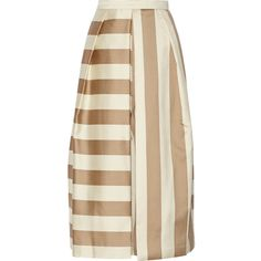 Tibi - Escalante Striped Silk Culottes ($358) ❤ liked on Polyvore featuring skirts, bottoms, stripe, юбки, matte gold, silk culottes, tibi skirt, striped skirts, stripe skirts and silk skirt