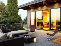 Glass doors and patio.
