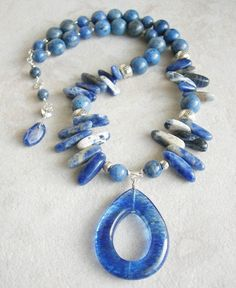 Click now to purchase!  Blue Sodalite Necklace Thai and Sterling Silver Necklace Dumortierite aka Denim Lapis Blueberry Quartz, 6th Chakra Third Eye Chakra Healing by MariposaStoneWorks on Etsy, $80