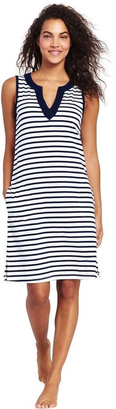 b874a9370a Try our Women's Cotton Jersey Sleeveless Tunic Dress Swim Cover-up Print at  Lands' End.