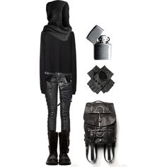 A fashion look from September 2014 featuring black hoodie, suede boots and leather backpack. Browse and shop related looks.
