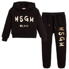 MSGM Girls Black Hooded Tracksuit with Gold Logo